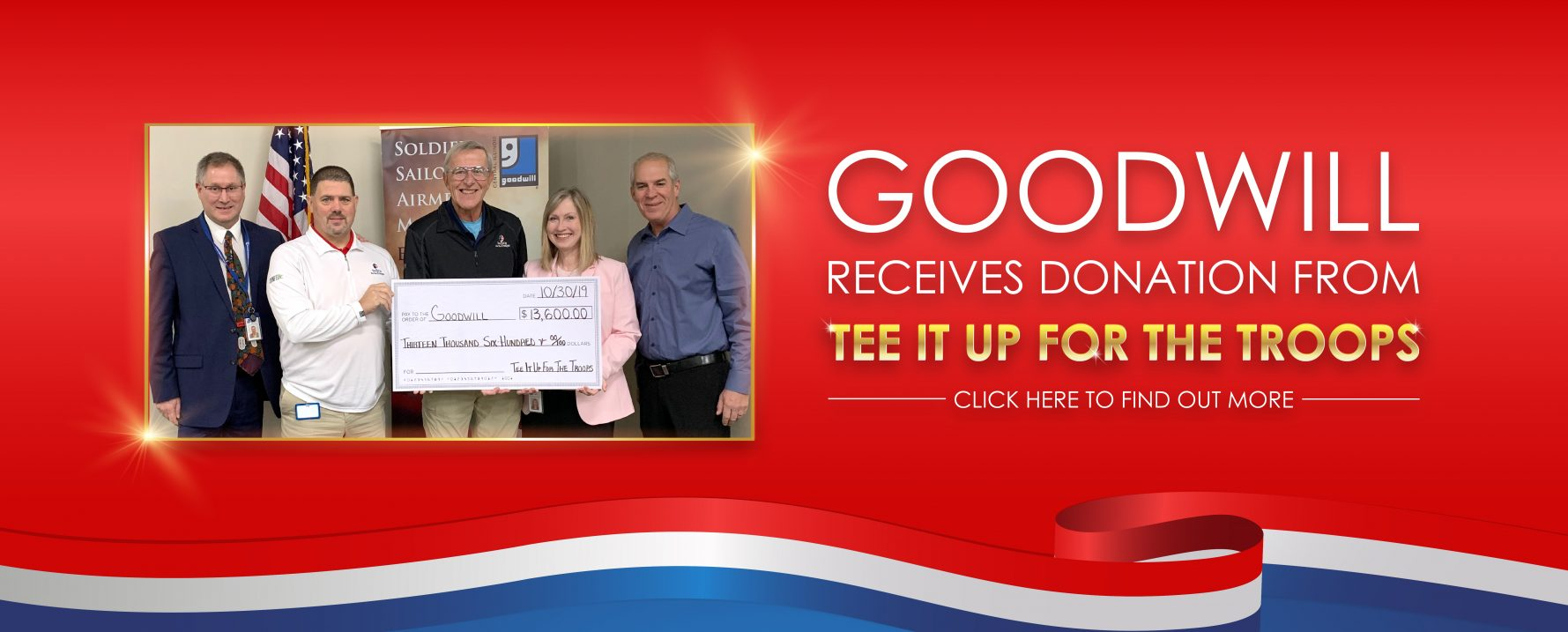 Goodwill Receives Donation from Tee It Up for the Troops