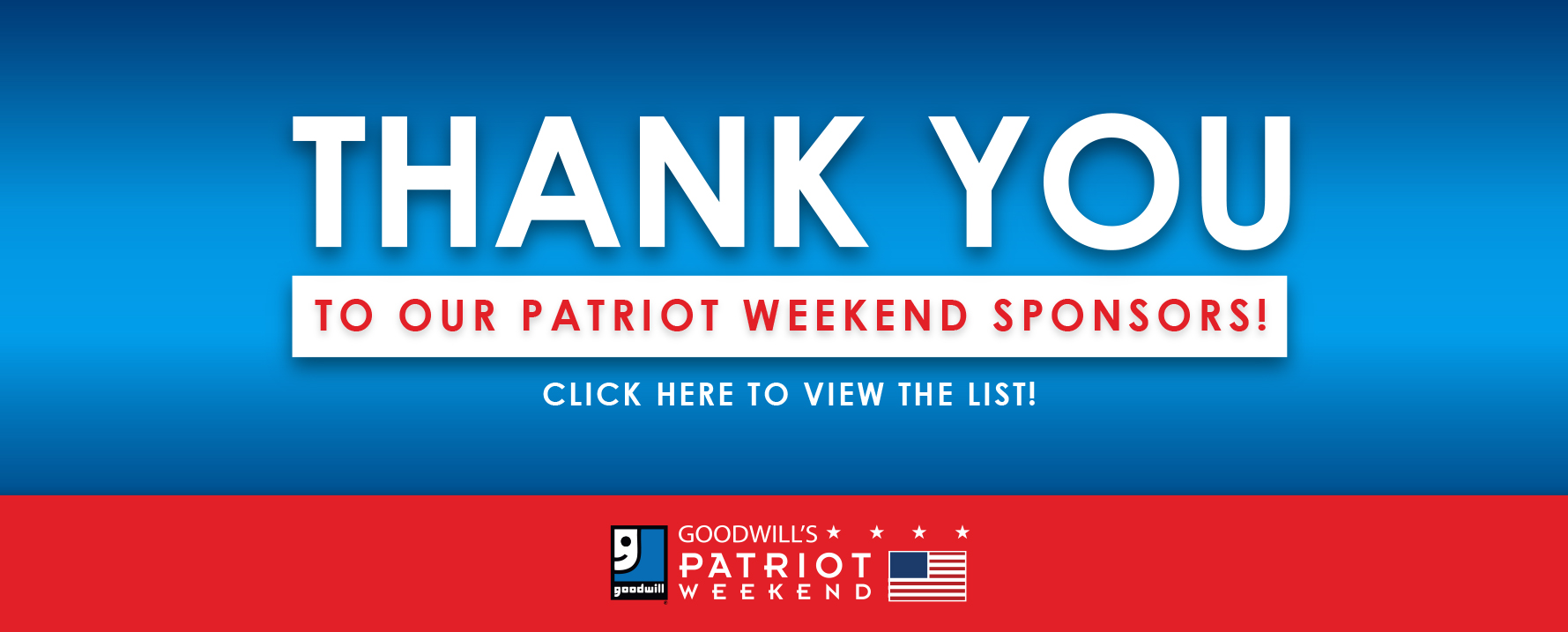 Thank You Patriot Weekend Sponsors